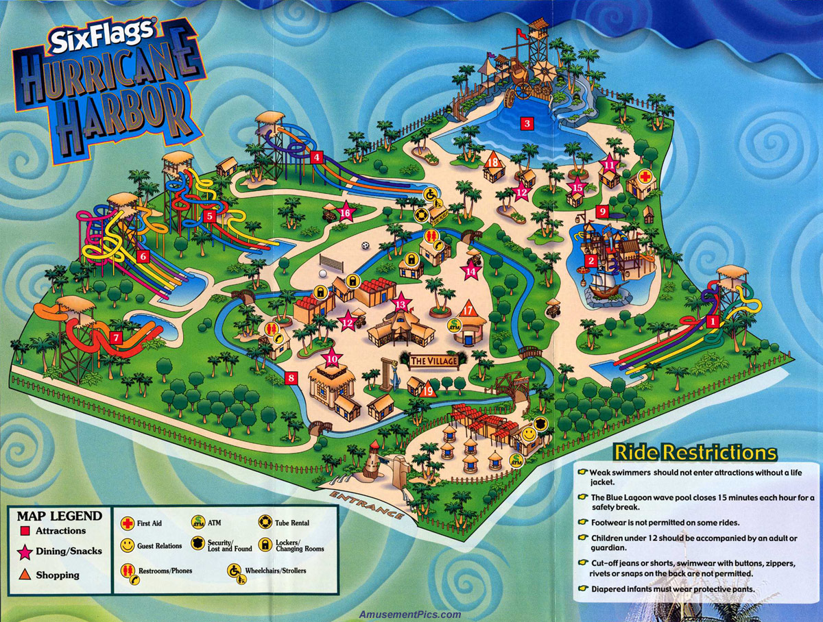 Six flags hurricane harbor map